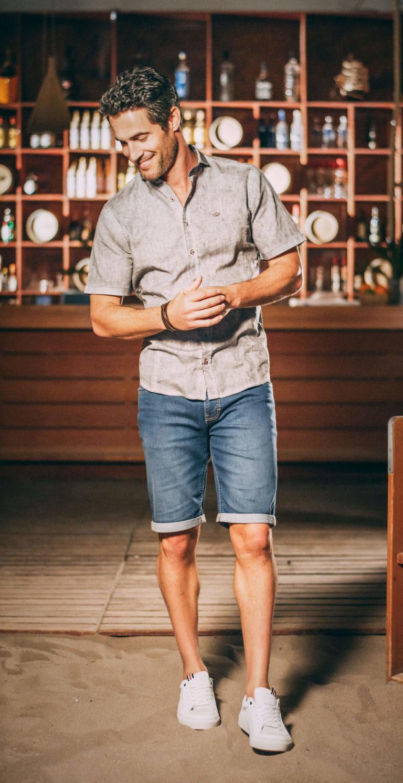 Herren Kurzarmhemd in Grau für den Sommer