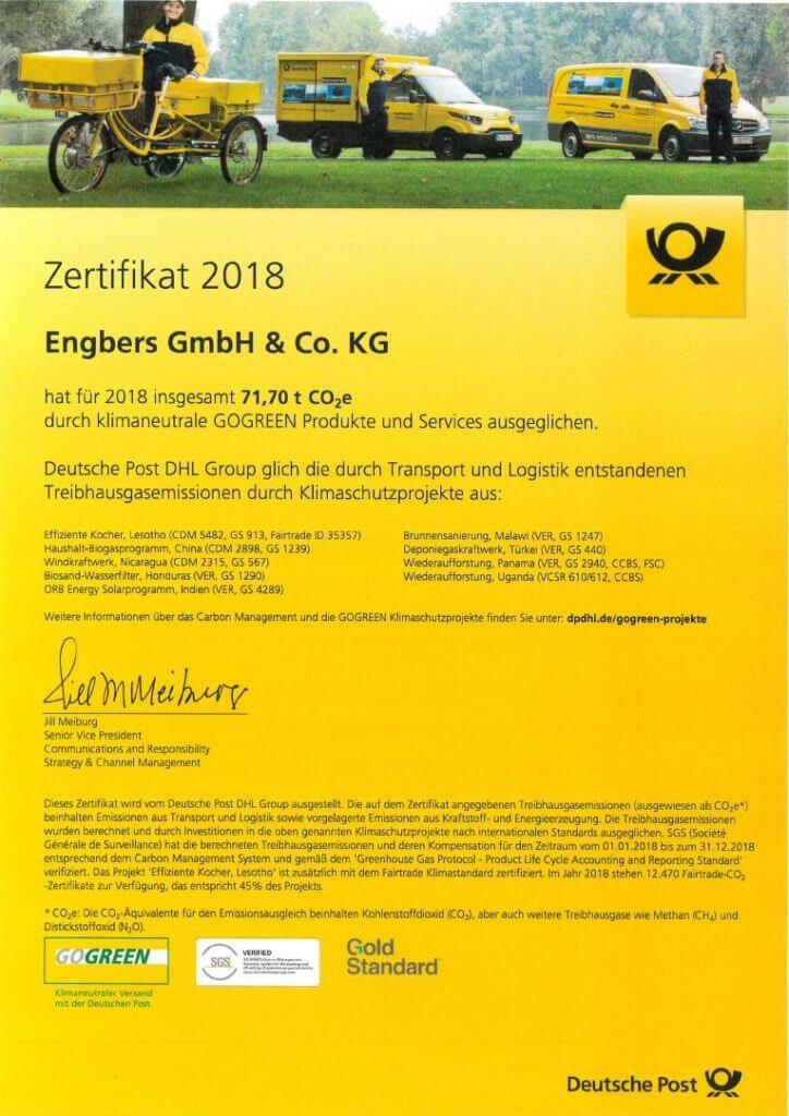 Klimaneutraler Postversand bei Engbers GmbH & Co. KG