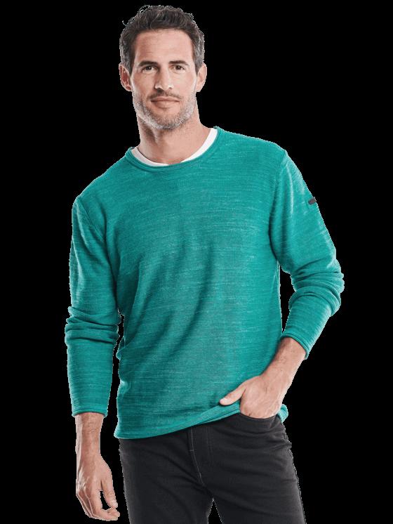 Trendfarbe Grün: Herren Baumwoll-Pullover in grün