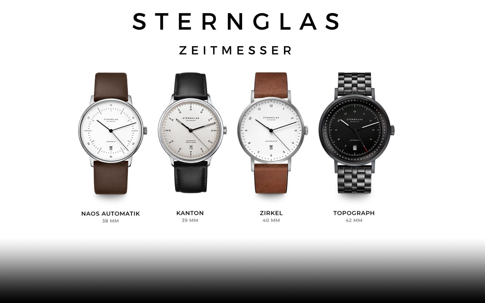 Vier Uhren von Sternglas nebeneinander