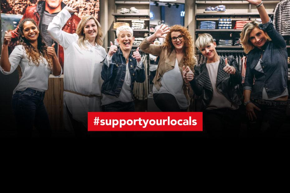 Mitarbeiterinnen unterstützen die Kampagne #supportyourlocals